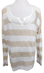 Splendid Striped Rugby Stripes Tan White T Shirt White, Tan