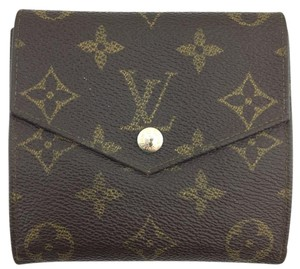 Louis Vuitton #11421 *Clearance* square Monogram Double sided Flap Wallet