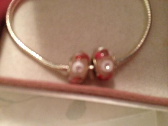 Pugster Set of 2-European Style Murano Lampwork glass Bead; Pink with White. 4 mm hole.