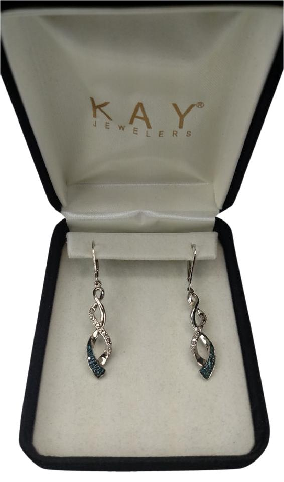 Kay Jewelers Sterling Silver And Blue Diamond Earrings
