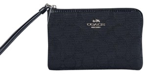 Coach Nwt Outline Signature Wristlet in Silver/Black/Black