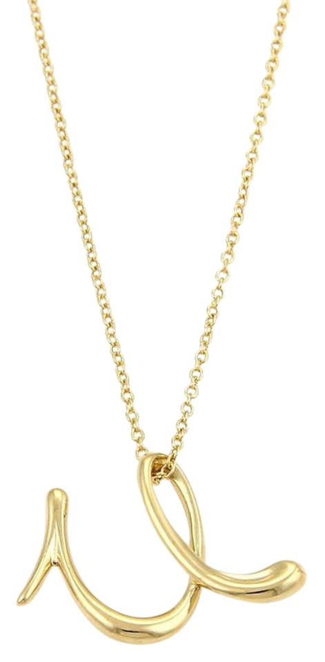 8c7eea579 Tiffany & Co. Elsa Peretti 18K Yellow Gold Letter U Pendant Necklace Image  0 ...