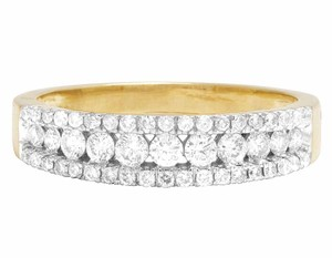 Other 10K Yellow Gold Real Diamond 3 Row Real Diamond Band Ring 1 1/3 CT 5MM