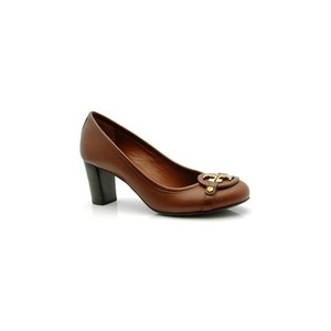 Tory Burch Chunky Leather Brown Pumps