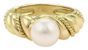 Tiffany & Co. Solitaire 7.5mm Pearl 18k Yellow Gold Twisted Design Ring Size 4.5
