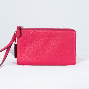 Coach Leather Wristlet in Imitation Gold/Bright Pink
