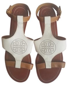 Tory Burch Ivory Leather Ivory/Royal Tan Sandals