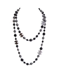Chanel Chanel Black and Grey Beaded CC Necklace with Box