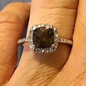 9.2.5 925 smokey topaz & genuine diamond ring