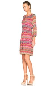 Diane von Furstenberg short dress pink multi Print Silk Dvf Wrap on Tradesy