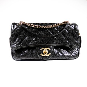 Chanel Caviar New Front Flap Gold Cc Shoulder Bag