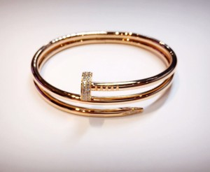 Cartier CARTIER 18K ROSE GOLD DIAMOND NAIL BRACELET SIZE 17
