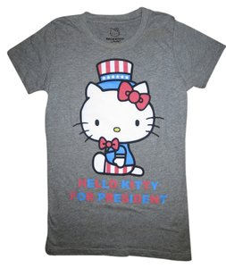 Mighty Fine Graphic Hello Kitty T Shirt Gray