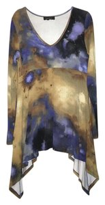 Karen Kane Tie Dye Tiered Top blue, gold