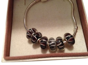 Pugster Set of 6-European Style Murano Lampwork glass Bead; Black, Brown and White Stripe Beads. 4 mm hole.