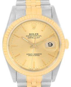 Rolex Rolex Datejust Steel 18k Yellow Gold Baton Dial Date Watch 16233