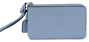 Coach Nwt Leather Wristlet in Silver/Cornflower