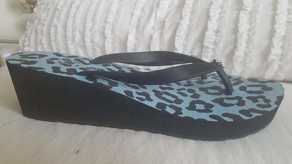 6b4a39a0735ac Coach Black Loralyn Leopard Print Wedge Sandals Size US 11 Regular ...