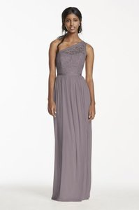 David's Bridal Portobello (Grey) Nylon & Rayon Lace Bodice with Flowing Polyester Skirt Long One Shoulder Dress-portobello Formal Bridesmaid/Mob Dress Size 8 (M)
