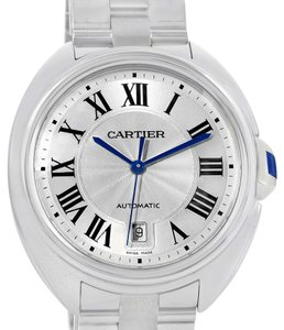 Cartier Cartier Cle Silver Guilloche Dial Stainless Steel Mens Watch WSCL0007