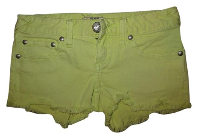 Free People Denim Neon Mini/Short Shorts Green