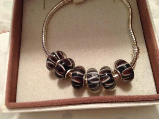 Bella & Chloe SET OF 6-European Style Murano Lampwork glass Bead; Black, Brown with white striped. 4 mm hole.
