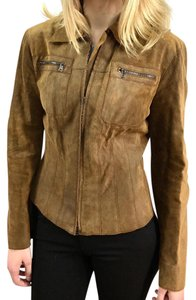 Marc Cain Dark Tan Leather Jacket