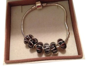 Bella & Chloe SET OF 6 ~European Style Murano Lampwork Glass Beads, 4mm hole, Black, Brown and White Striped Beads.