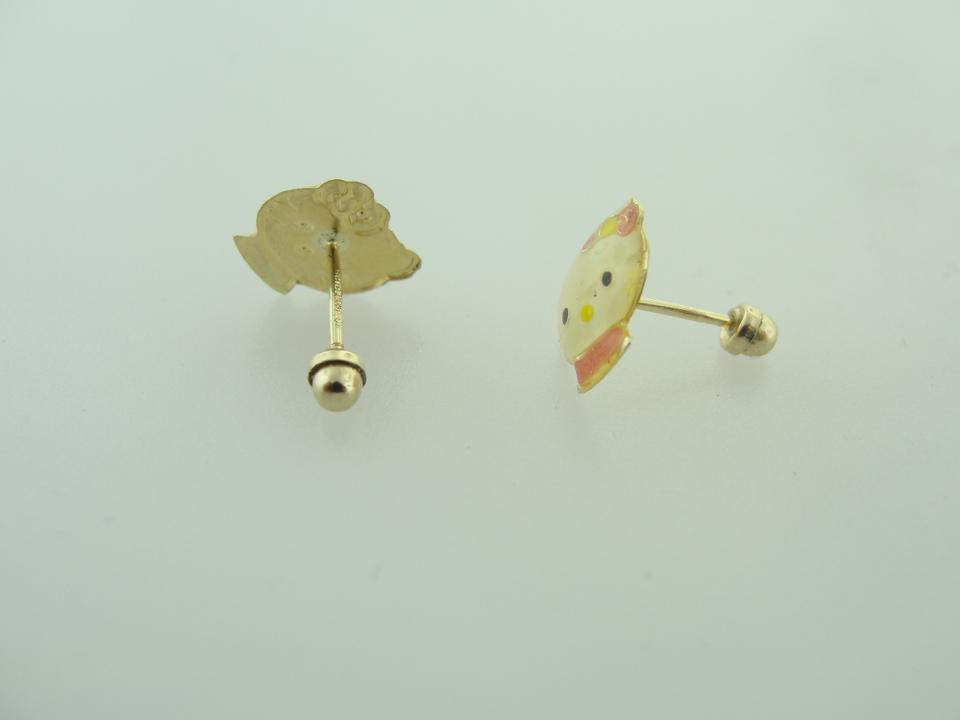 Hello Kitty Vintage Small Stud Earrings 10k Yellow Gold Earrings