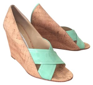Diane von Furstenberg turquoise and beige Wedges