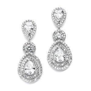 Silver/Rhodium Stunning Hollywood Glamour Brilliant Crystals Statement Earrings
