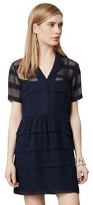 Anthropologie short dress Navy Blue Striped Chiffon Summer Spring Ruffle on Tradesy