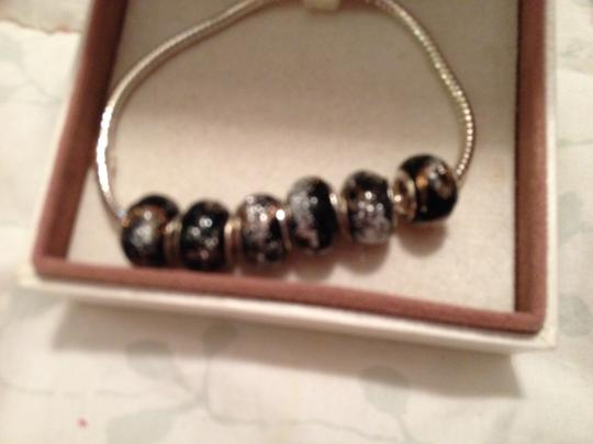Bella & Chloe SET OF 6 European Style Murano Lampwork Glass Beads in Black with Silver Glitter. 4 mmhole.