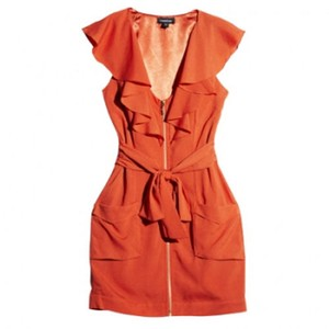 bebe V-neck Spring Ruffle Pocket Dress