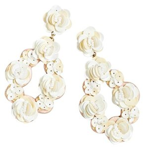 J.Crew J Crew Leather-backed sequin petal earrings White, SOLD OUT EVERYWHERE