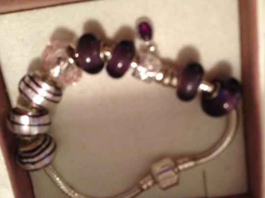 Bella & Chloe Set of 10 Beads & Charms that Match in Purple! European Style Murano Lampwork Glass Beads. 4 mm hole.