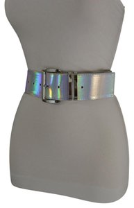 Other Women Fashion Belt Hip Waist Shiny Silver Faux Leather Silver Buckle
