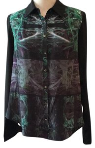 Nicole Miller Button Down Shirt black with green and purple print