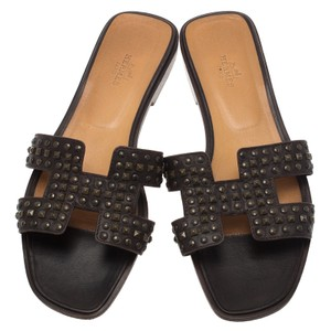 Herms Oran Studded Brown Sandals