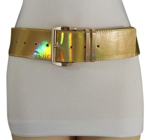 Other Women Fashion Belt Hip Waist Shiny Gold Faux Leather Metal Buckle Size