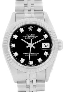 Rolex Rolex Datejust Ladies Steel White Gold Diamond Watch 69174 Box Papers