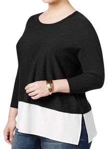 Style & Co Plussize Summer Spring Colorblack Top black white