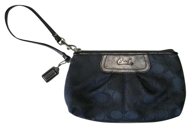 Item - Classic Mid Size Baguette Charcoal Grey/ Purple /Dashes Of Silver Leather Trim & Fabric Clutch