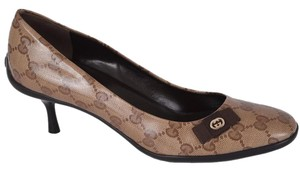 Gucci Kitten Heel Work Ebony/Beige Pumps
