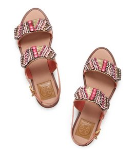 Tory Burch Summer Embellished Beaded Pink gold metallic Sandals