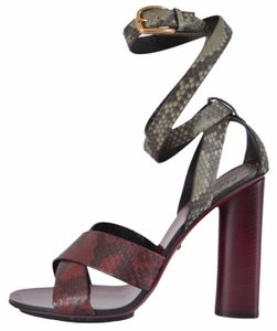 Gucci Python Wrap Burgundy and Olive Sandals