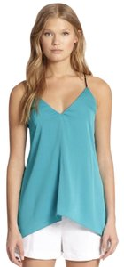 MILLY Silk Leather Racer Back Summer Drape Top Teal