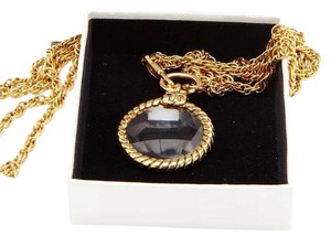 Chanel Gold Tone LOOKING GLASS Long Chain Pendant NECKLACE