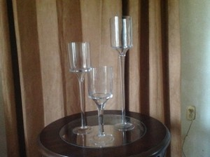 Trio Of Tall Glass Candleholders