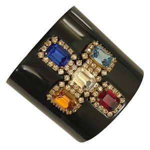 Chanel Chanel Jeweled Cross Black Enamel Cuff
